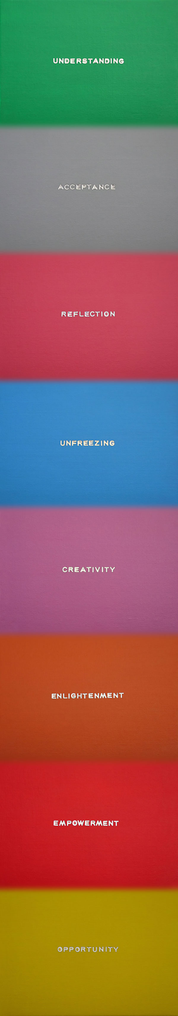 An Over-abundance of Syllables, 2014 Acrylic and lettering on board on Plexiglas 114 x 20 cm