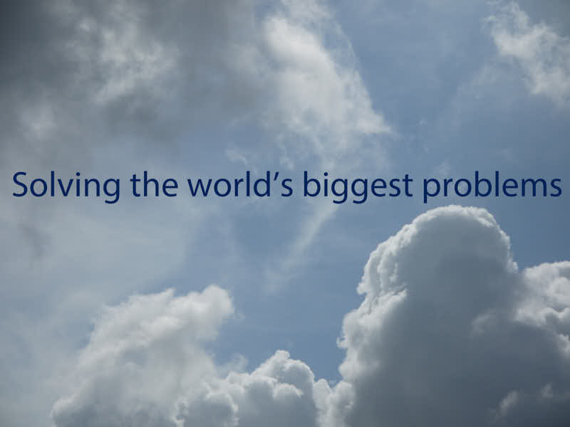 Solving the world's biggest problems, 2018 Digital Photo and text