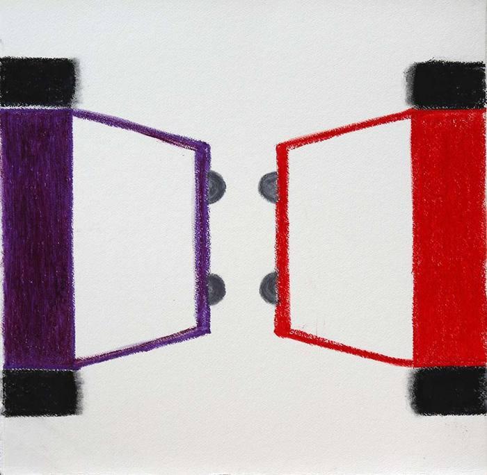 Face-Off, 2012 Oil Pastel on Paper 55 x 56 cm