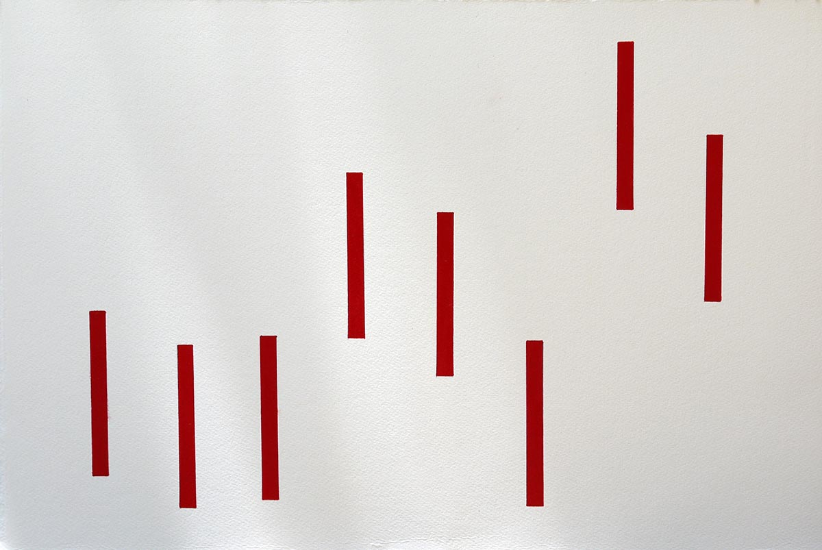 Fear in 8 Red Rectangles, 2012 Pen and Acrylic on Paper 38 x 57 cm